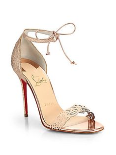 Christian Louboutin Valnina Cutout Leather & Glitter Sandals