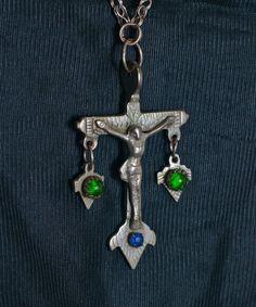 Antique Silver Crucifix Necklace Chachal by ColeccionLunaVintage
