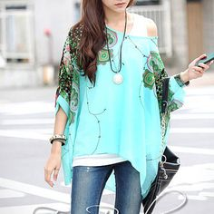 Pretty oversized seafoam shirt with floral accents. S-M. #ladies #fashion