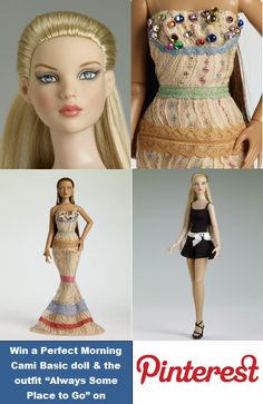 """#Pin2Win Pin To Win a Perfect Morning Cami - Blonde -and an """"Always Some Place to Go"""" Outfit – Our First Tonner Doll Pinterest Giveaway - browse our 2013 Mainline board, pin 8 pins to a new board """"My Favorite 2013 Tonners"""" and email us the board's url to win. - see our blog post linked to this pin for details."""