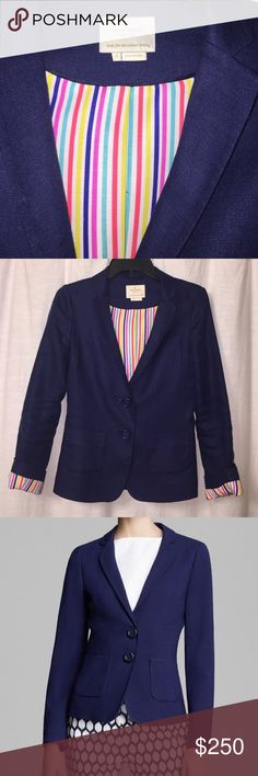 """Kate Spade Navy Linen Tami Blazer Size 4 ✨Absolutely stunning Kate Spade blazer! Very flattering on, slim fit navy blazer with striped multi colored lining. kate spade new york makes school girl style grow up with a polished statement in the navy tami blazer. Tencel® """"tami"""" blazer by kate spade new york with matching buttons. Notched collar; 2 button front. Patch pockets at hips. Slim fit. 100% Linen; polyester lining. kate spade Jackets & Coats Blazers"""