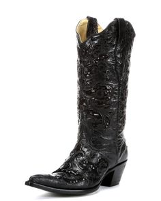 """<span style=""""color: rgb(85, 84, 84); font-family: Verdana, Geneva; font-size: 11px; background-color: rgb(255, 255, 255);"""">This handcrafted Corral boot features goat leather with sequined inlay in vintage-style, black leather. Leather foot and matching 13"""" leather shaft. Sequined inlay. Lightly cushioned insole for walking comfort. 2"""" western fashion heel. Single stitched welt.</span>"""