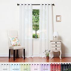 """Amazon.com - White Crushed Voile Sheer Grommet Top Curtain 84""""L Pair - SL - Window Treatment Curtains"""