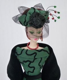 "Handmade Vintage Barbie/Silkstone Fashion by Roxy-""Evergreen & Velvet""Dress-14pc #FITSVINTAGEREPRODUCTIONSANDSILKSTONEBARBIE"