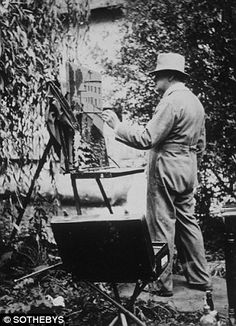 Churchill at work on another of his artistic pieces.
