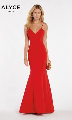 3edb1aaeafff Alyce Paris Style 60293 Fitted Mermaid Luxe Jersey Dress With V Neck And  Shoulder Straps.