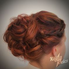Hair By KDeics: A Soft-Swept Upstyle with Copper and Violet Highlights in a Chocolate Brown Base