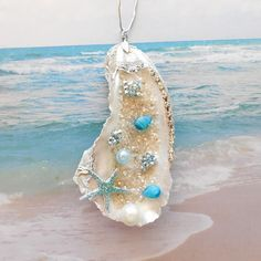 Oyster Shell Ornament Beach Christmas Ornament Beach Holiday