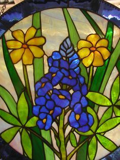 blue bonnet stained glass window hanging