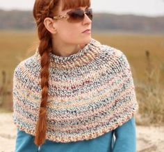 The Fog Chaser Knit Cape is a beautiful free knitting pattern perfect for a variety of occasions. The cape is knit in the round, from the bottom up. Thanks to the super bulky yarn and big needles, this is a quick project to complete. Capelet Knitting Pattern, Knitted Cape Pattern, Knit Cowl, Knitted Poncho, Knitting Patterns Free, Free Knitting, Knit Patterns, Knitting Yarn, Knitting Needles