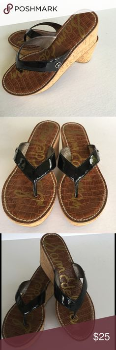 "Black Patent Thong Cork Wedgies - Sam Edelman Sz.7 Cute sexy, shiny black patent thong wedge sandals by Sam Edelman. 3"" Cork Wedge Heels with 1.25"" platform. Size 7M  -all man made materials- Sam Edelman Shoes Sandals"