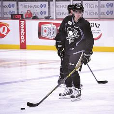 He got his first #Pens goal out of the way; now he's getting his first #Pens practice out of the way.
