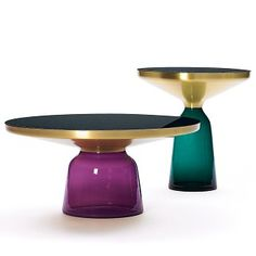 Pucci coloured glass and brass side and cocktail table