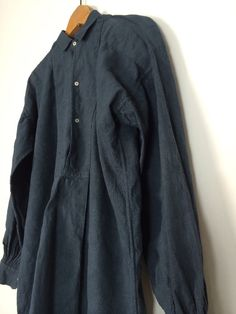 Vtg Linen french antique Black Indigo Patched chore Farmers Smock Shirt Biaude