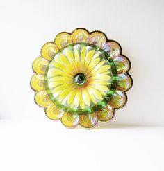 Colorful Glass Garden Art Yard Decor Egg Plate Flower by jarmfarm, $114.40
