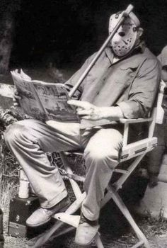 Jason Voorhees behind the scenes on the set of 'Friday the 13th Part III, (1982)