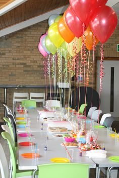 Cute idea... Use candy bags with color coordinating candy as ballon weights for table centerpiece. Allow kids to take the ballon and candy bag (doggie bag) home.