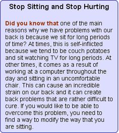 Stop Sitting and Stop Hurting