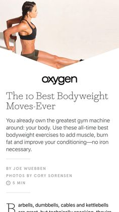 """""""The 10 Best Bodyweight Moves-Ever"""" from Oxygen, July/August 2017"""