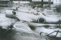 "Line up of Nakajima Ki-115 ""Tsurugi"" kamikaze aircrafts."
