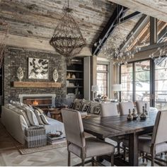You can find this modern chalet design in the USA. The chalet is located near the ski resort. House Design, Farmhouse Decor Living Room, Rustic Farmhouse Living Room, Home, Cabin Decor, Interior Design Rustic, Rustic Living Room, Cabin Style, Living Decor