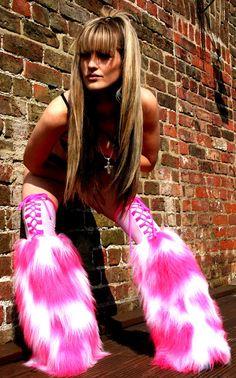 Funki-B LOTS COLOURS Faux fur two tone fluffies custom made leg warmers rave uv