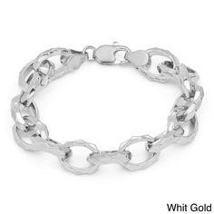 Sterling Essentials Gold over Bronze 7.5-inch Hammered Oval Link Bracelet (White Gold), Size: 7.5 Inch