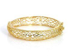 Morocco Filigree Designer 14ct 14k Gold Vintage Artisan Moroccan Bracelet Cuff