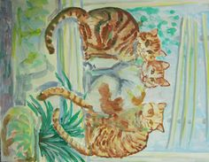 """""""Mom's Cats"""" 16x20 acrylic on stretched canvas impressionistic style $99 ppd to anywhere in lower 48-paypal----------------------  P.S.Pinterest should fix this-sometimes if you take a foto sideways, no matter if you fix it to correct angle in your computer, pinterest software will change it back to direction you originally took it from (GRRR!)"""
