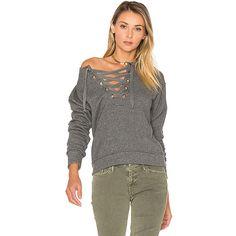 MOTHER The Tie Up Easy Sweatshirt ($160) ❤ liked on Polyvore featuring tops, hoodies, sweatshirts, sweatshirts & hoodies, hooded pullover, lace up sweatshirt, cotton hooded sweatshirt, hoodie sweatshirts and cotton sweatshirts