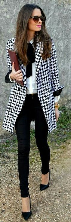 THIS OUTFIT IS WHAT I NEED IN MY CLOSET HFS>>>Fall / Winter - street chic style - business casual - office wear - work outfit - black skinnies black stilettos black sunglasses burgundy clutch black and white harris tweed coat white shirt black bow Business Fashion, Business Mode, Business Outfits, Office Outfits, Mode Outfits, Fashion Outfits, Business Casual, Casual Office, Office Wear