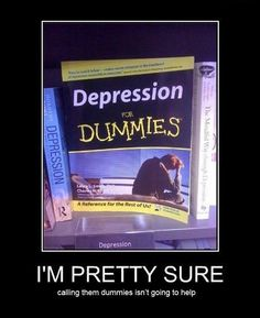 If they're as dumb as most of the people I know they would need a book to tell them they're depressed. But then again they wouldn't read it so who are they selling this to?