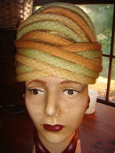 Amazing CHRISTIAN DIOR Straw & Net Turban Style Hat 1950's-60's