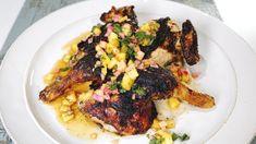 Michael Symon's Spatchcock  Coconut Jerk Chicken with Pineapple Salsa