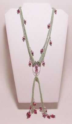 Crochet Necklace Glass Flower Necklace by Starfall on Etsy, $30.00