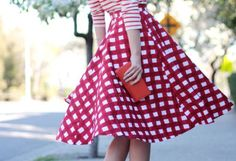 Fun combination of stripes and checks, in red and white. Love the 50's style skirt