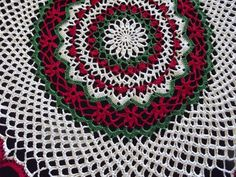The beautiful doily will make a lovely accent to your Christmas decorations. Use it as a centerpiece or on an end table. Measures 20 in diameter. I am finishing up on these presently. They will be ready to ship by (maybe before). Crochet Doily Patterns, Crochet Doilies, Acrylic Painting Techniques, Christmas Projects, End Tables, Centerpieces, Christmas Decorations, Blanket, How To Make