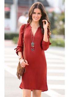 Vestido liso de mujer con manga regulable y cuello mao