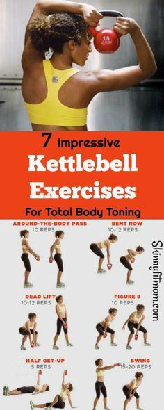 7 Impressive Kettlebell Exercises for Total Body Toning- Looking for Exercises to Tone the Entire Body? Then You Should Check These Out. #KettlelBells #BodyToning