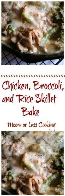 Chicken, Broccoli, and Rice Skillet Bake - Moore or Less Cooking Oven Recipes, Pork Recipes, Easy Dinner Recipes, Cooking Recipes, Delicious Recipes, Dinner Ideas, Great Chicken Recipes, Side Dishes For Chicken, Turkey Recipes