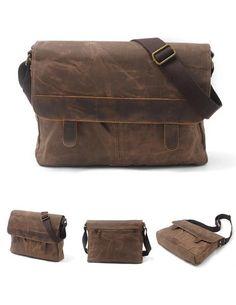 Waxed Canvas DSLR Camera Bag Messenger Bag Shoulder Bag AF45