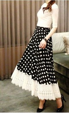 Sigh. I love this so much!! Via Apostolic Clothing. Brumhilde women's high waist A-line polka dot midi skirt with crochet trim