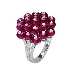 Goshwara Ruby Bead & Diamond Cluster Ring