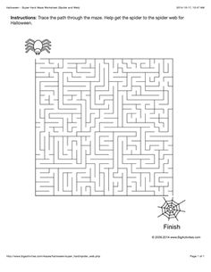 Halloween maze worksheet with a spider and its web. 4 levels of difficulty (maze changes each time you visit)