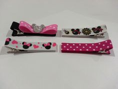 Mickey and Minnie Color & Pattern Theme - 4 Pack Hair Clip for Baby and Toddler (Alligator Clip) - pinned by pin4etsy.com
