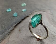 Raw Apatite | Raw Apatite Rough Teal Sterling Silver Gemstone Stackable Ring
