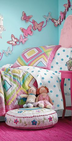 Love the idea of the quilted butterflies on the wall.