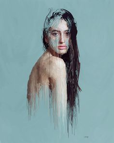Drip-effect Paintings by Marcello Castellani #digital #illustration #portrait