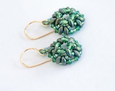 Swarovski Crystal Earrings, Beaded Earrings, Boho, Evergreen, Palace Opal, Emerald Green, Turquoise Luster, Beaded Jewelry, Geometric by seedbeadsofchange on Etsy