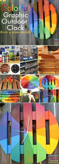 DIY : Colorful Graphic Outdoor Clock - How to make a BeautifulColorful Graphic Outdoor Clock